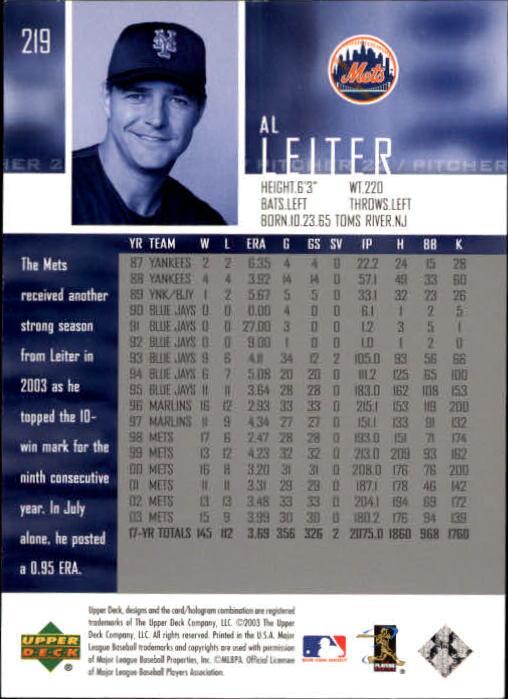 2004 Upper Deck Glossy #219 Al Leiter back image
