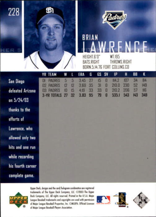 2004 Upper Deck Glossy #228 Brian Lawrence back image