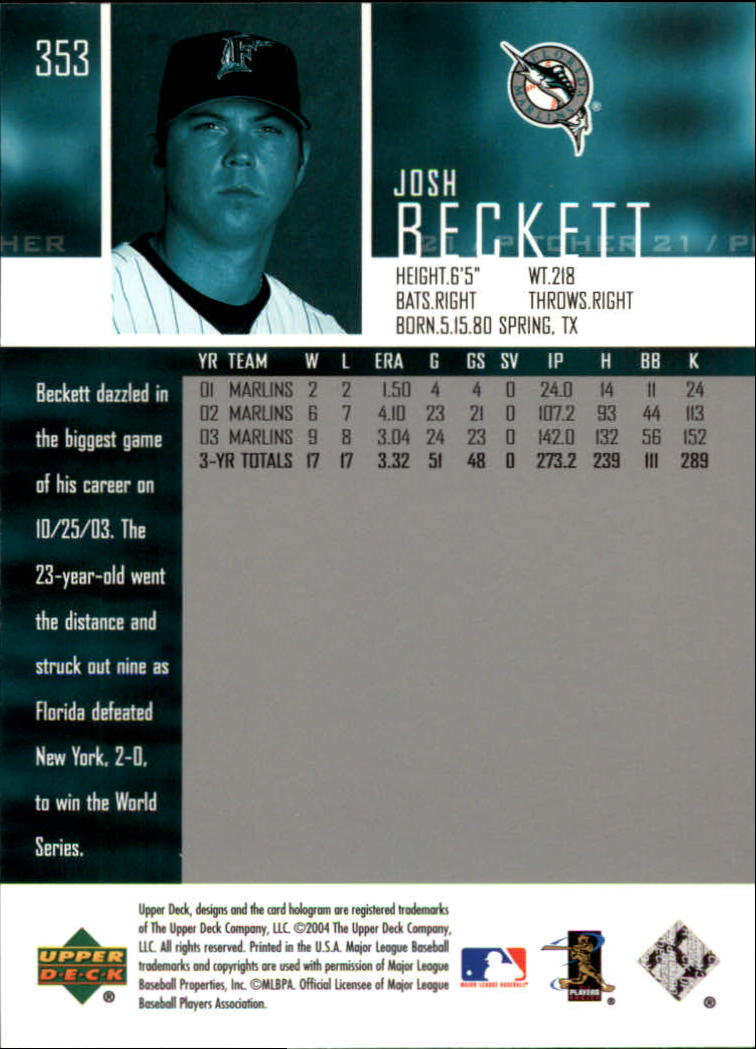 2004 Upper Deck Glossy #353 Josh Beckett back image