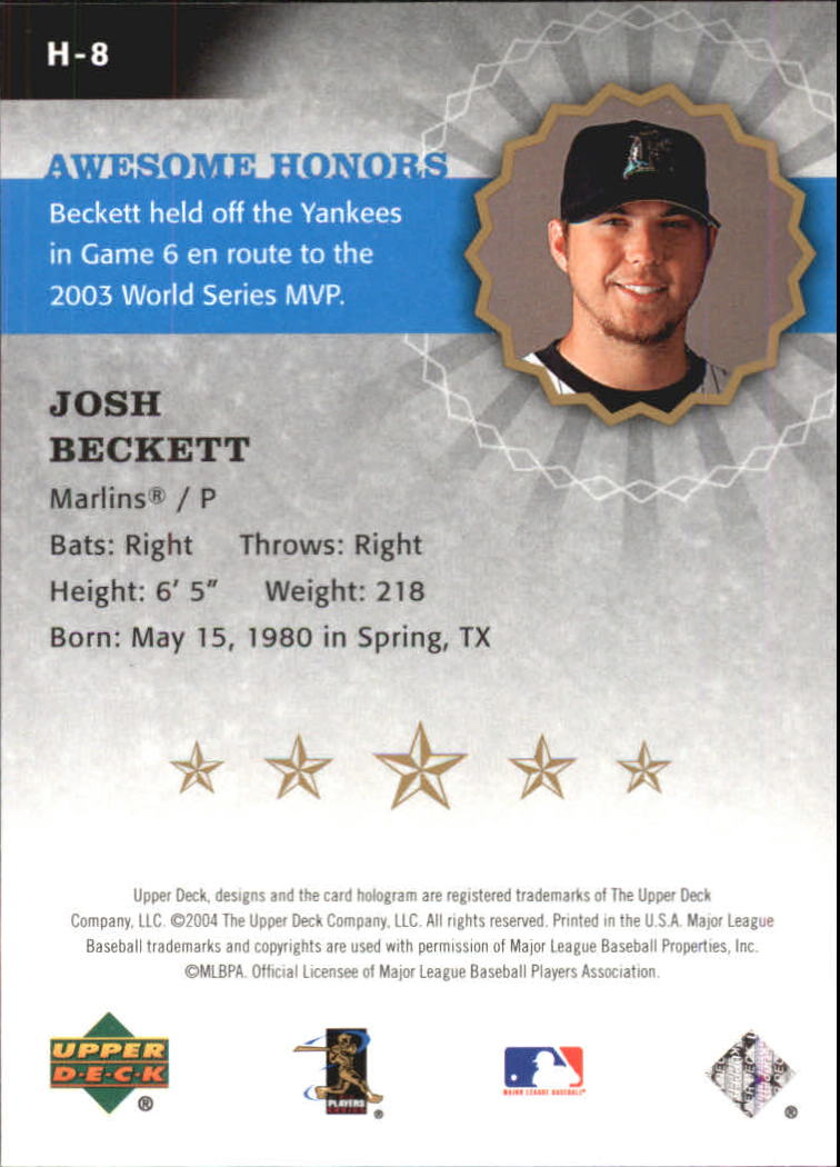 2004 Upper Deck Awesome Honors #8 Josh Beckett back image