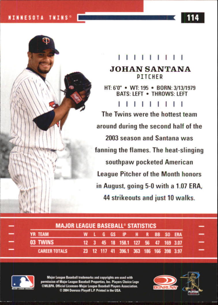 2004 Throwback Threads #114 Johan Santana back image