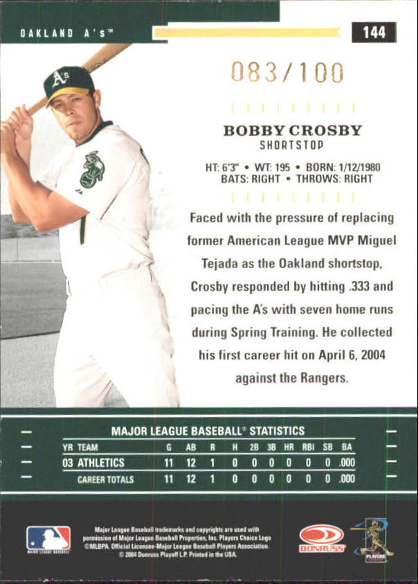 2004 Throwback Threads Gold Proof #144 Bobby Crosby back image