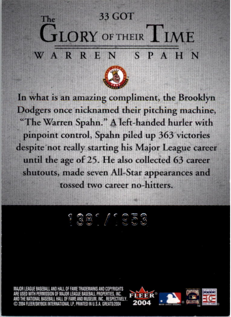 2004 Greats of the Game Glory of Their Time #33 Warren Spahn/1953 back image