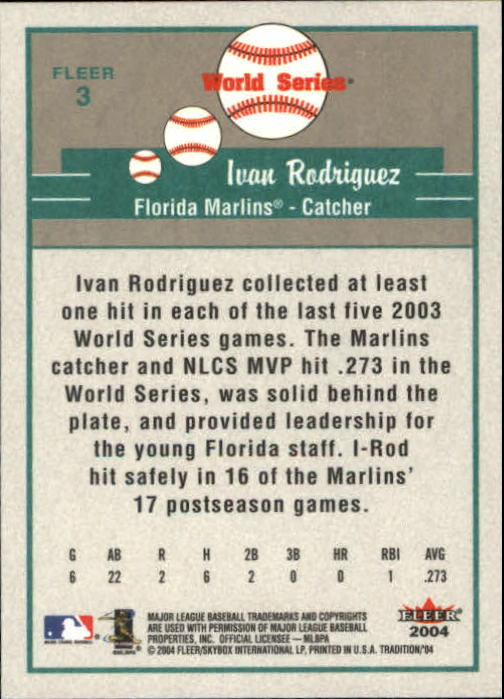 2004 Fleer Tradition #3 Ivan Rodriguez WS back image