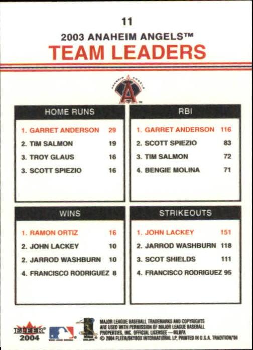 2004 Fleer Tradition #11 Anderson/Ortiz/Lackey TL back image