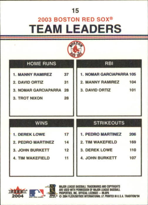 2004 Fleer Tradition #15 Manny/Nomar/Lowe/Pedro TL back image