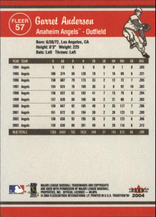 2004 Fleer Tradition #57 Garret Anderson back image