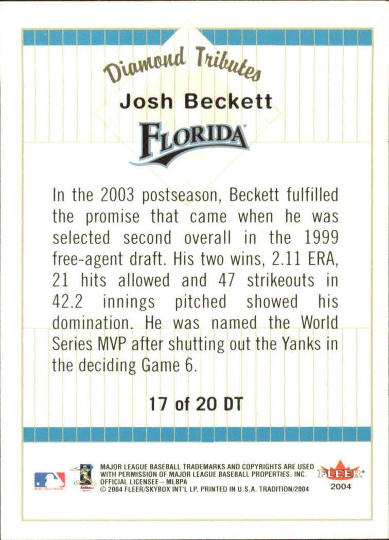 2004 Fleer Tradition Diamond Tributes #17 Josh Beckett back image