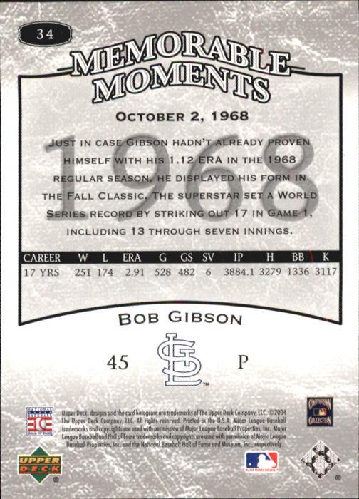 2004 UD Legends Timeless Teams #34 Bob Gibson MM 68 back image