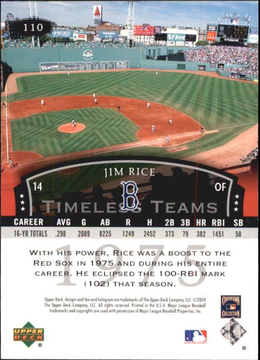 2004 UD Legends Timeless Teams #110 Jim Rice 75 back image