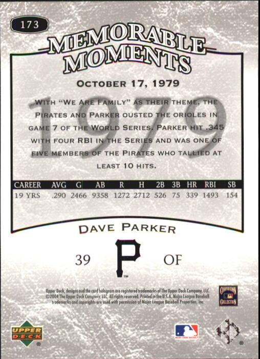 2004 UD Legends Timeless Teams #173 Dave Parker MM 79 back image