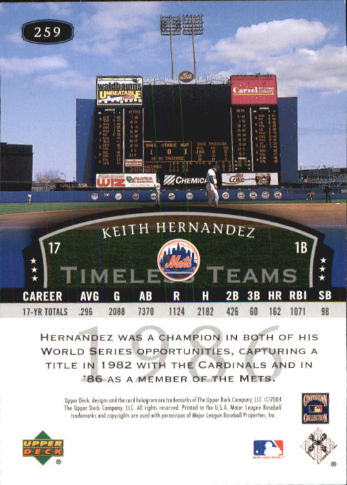 2004 UD Legends Timeless Teams #259 Keith Hernandez 86 back image