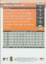 2004 Donruss #359 Barry Bonds back image