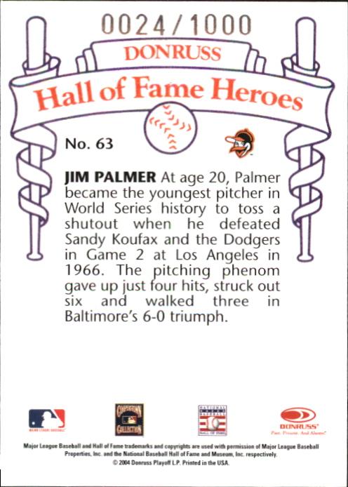 2004 Diamond Kings HOF Heroes #30 Jim Palmer #63/1000 back image
