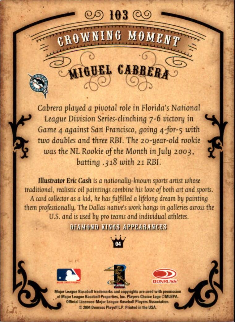 2004 Diamond Kings #103 Miguel Cabrera back image