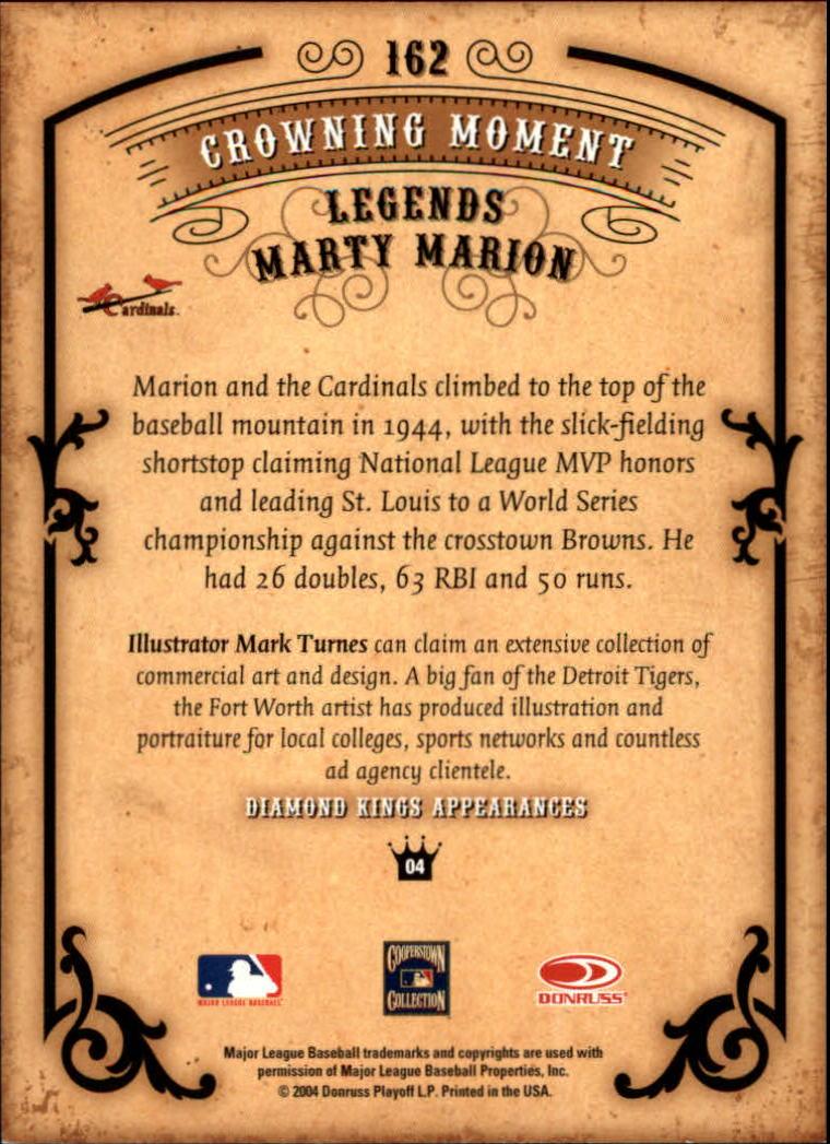 2004 Diamond Kings #162 Marty Marion LGD back image