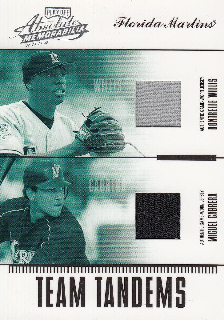 2004 Absolute Memorabilia Team Tandem Material #11 Dontrelle Willis Jsy/Miguel Cabrera Jsy