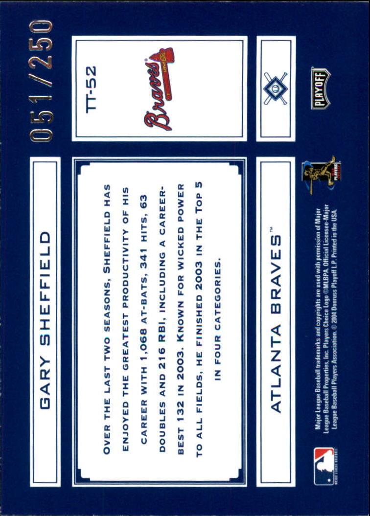 2004 Absolute Memorabilia Tools of the Trade Blue #TT52 Gary Sheffield back image