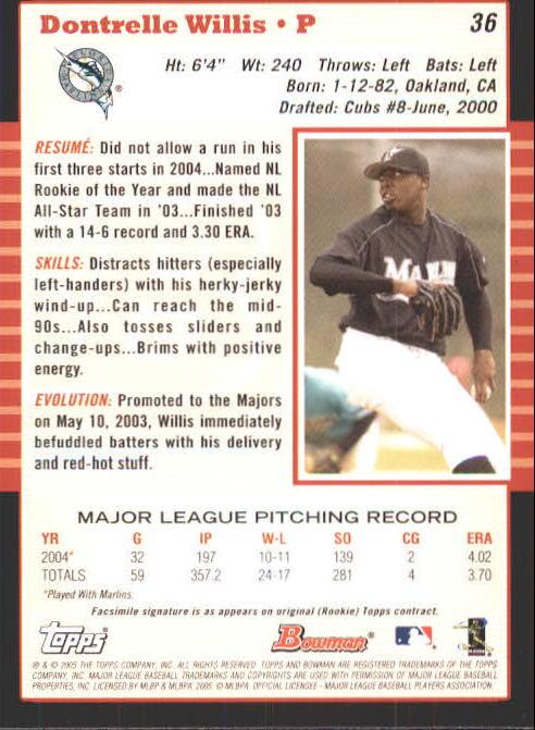 2005 Bowman #36 Dontrelle Willis back image