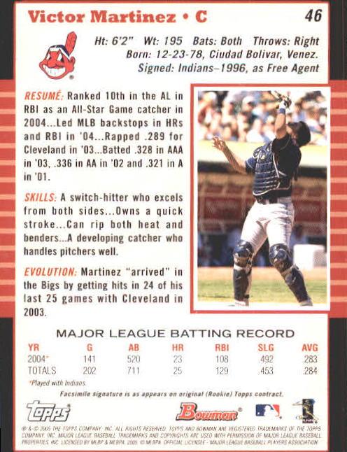2005 Bowman #46 Victor Martinez back image