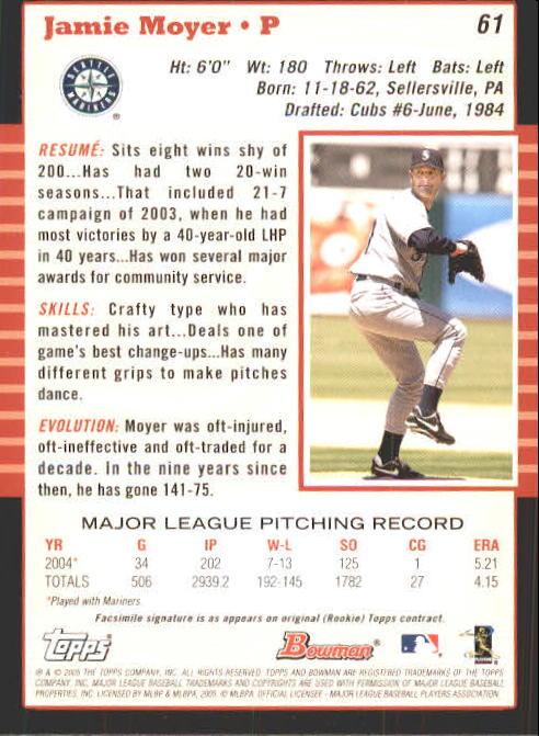 2005 Bowman #61 Jamie Moyer back image