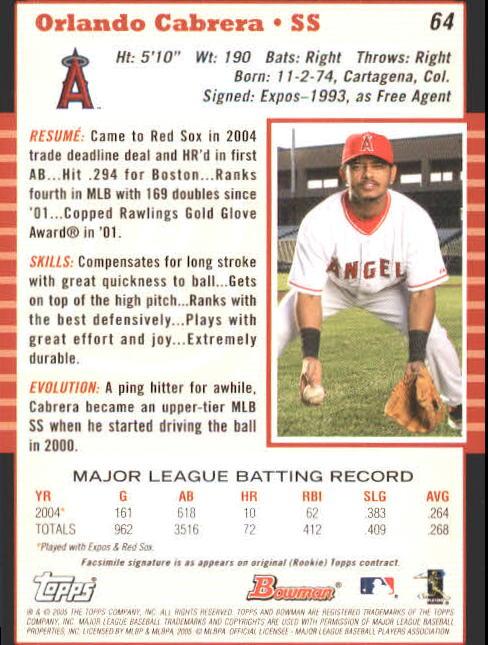 2005 Bowman #64 Orlando Cabrera back image