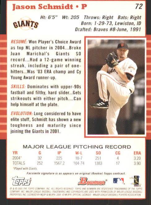 2005 Bowman #72 Jason Schmidt back image