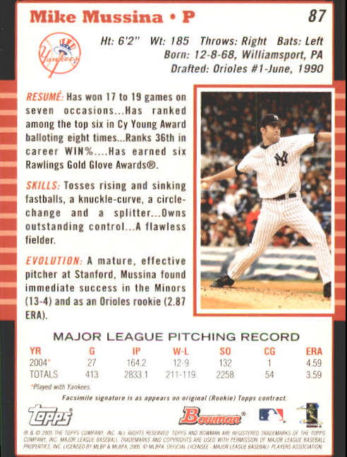 2005 Bowman #87 Mike Mussina back image