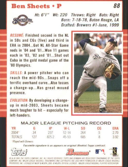 2005 Bowman #88 Ben Sheets back image