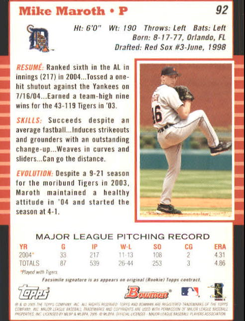 2005 Bowman #92 Mike Maroth back image
