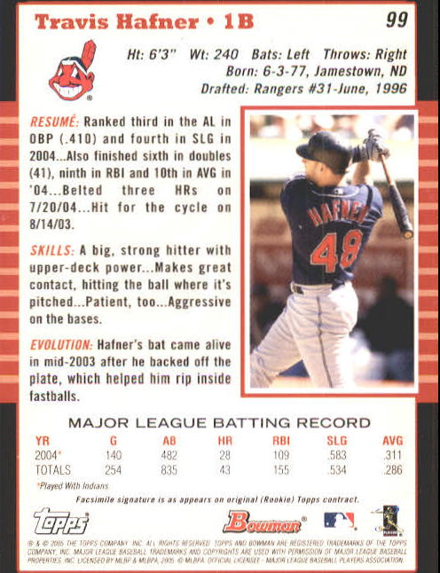 2005 Bowman #99 Travis Hafner back image