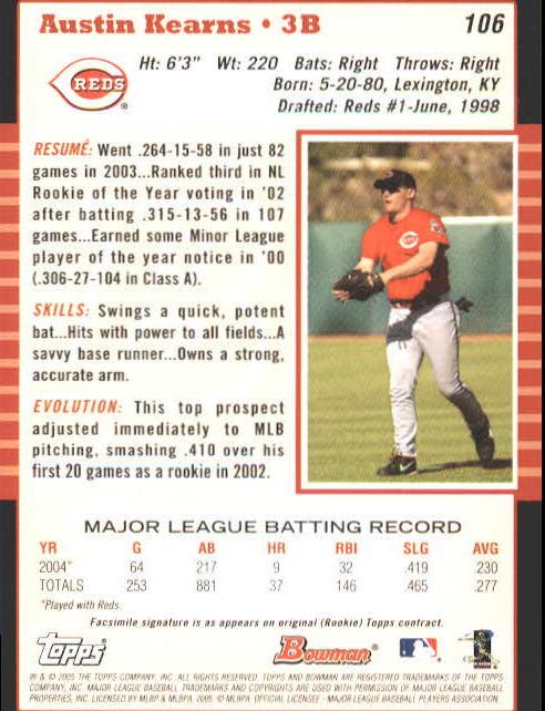 2005 Bowman #106 Austin Kearns back image