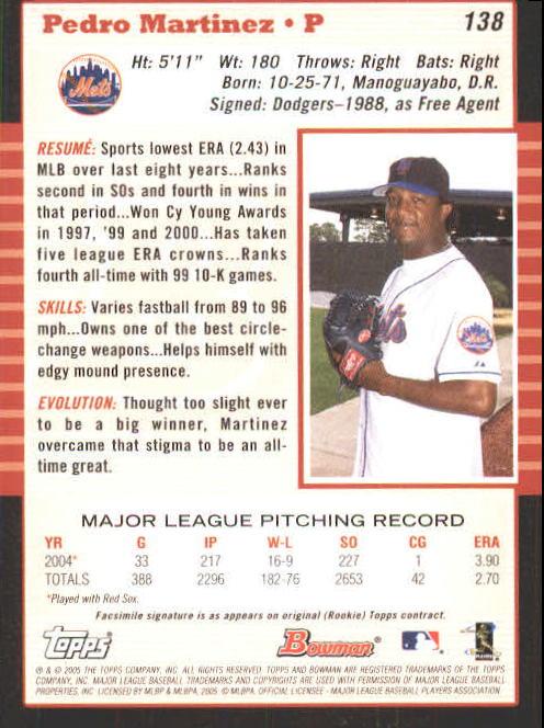 2005 Bowman #138 Pedro Martinez back image