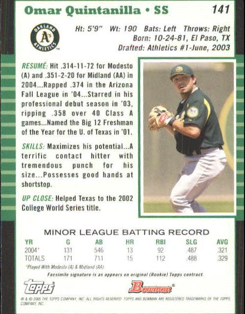 2005 Bowman #141 Omar Quintanilla back image