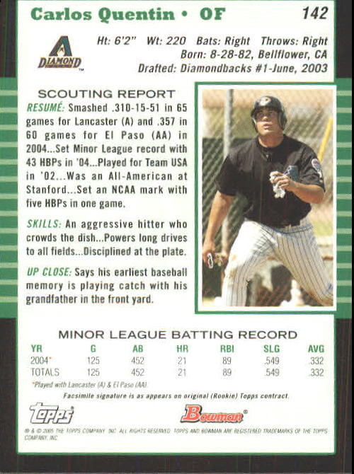 2005 Bowman #142 Carlos Quentin back image