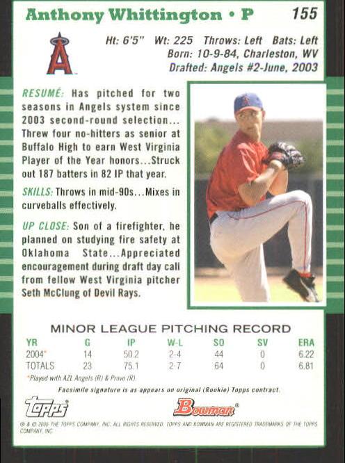 2005 Bowman #155 Anthony Whittington back image