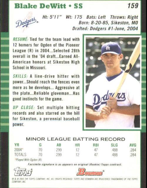 2005 Bowman #159 Blake DeWitt back image