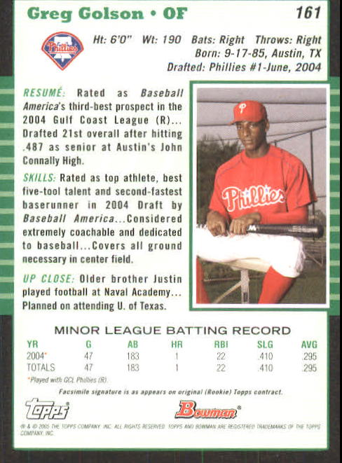 2005 Bowman #161 Greg Golson back image