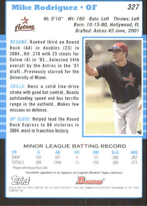 2005 Bowman #327 Mike Rodriguez FY RC back image