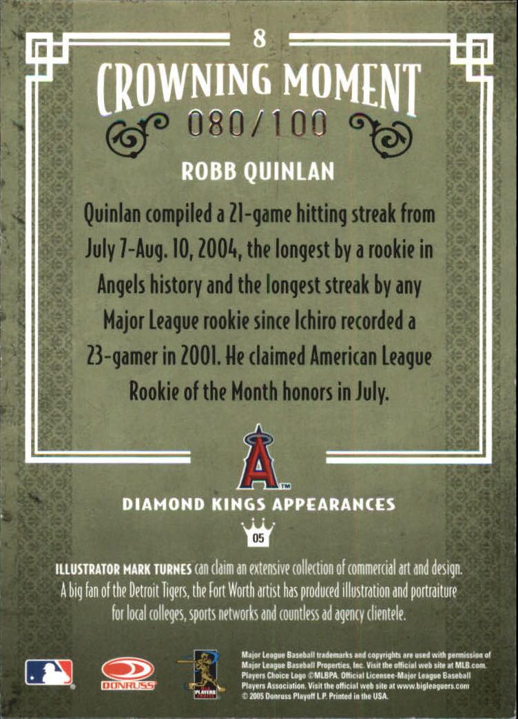 2005 Diamond Kings Framed Blue #8 Robb Quinlan back image