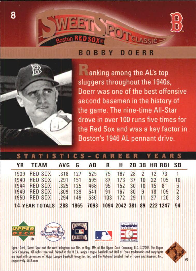 2005 Sweet Spot Classic #8 Bobby Doerr back image