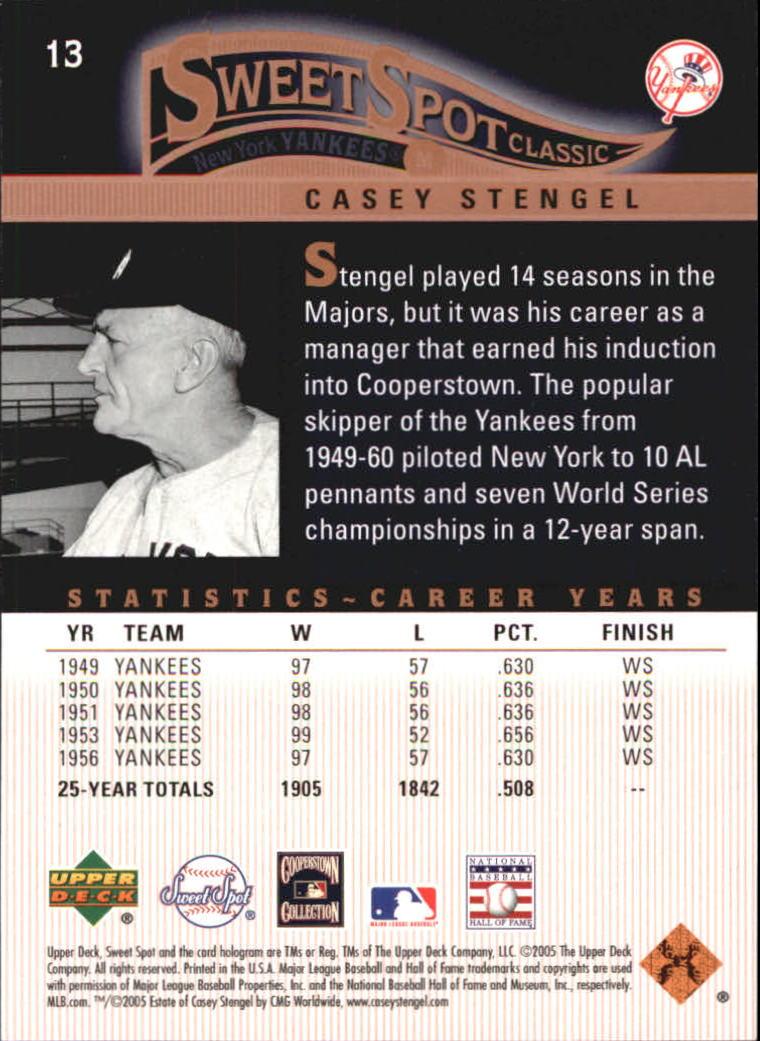 2005 Sweet Spot Classic #13 Casey Stengel back image