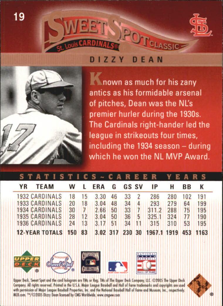 2005 Sweet Spot Classic #19 Dizzy Dean back image