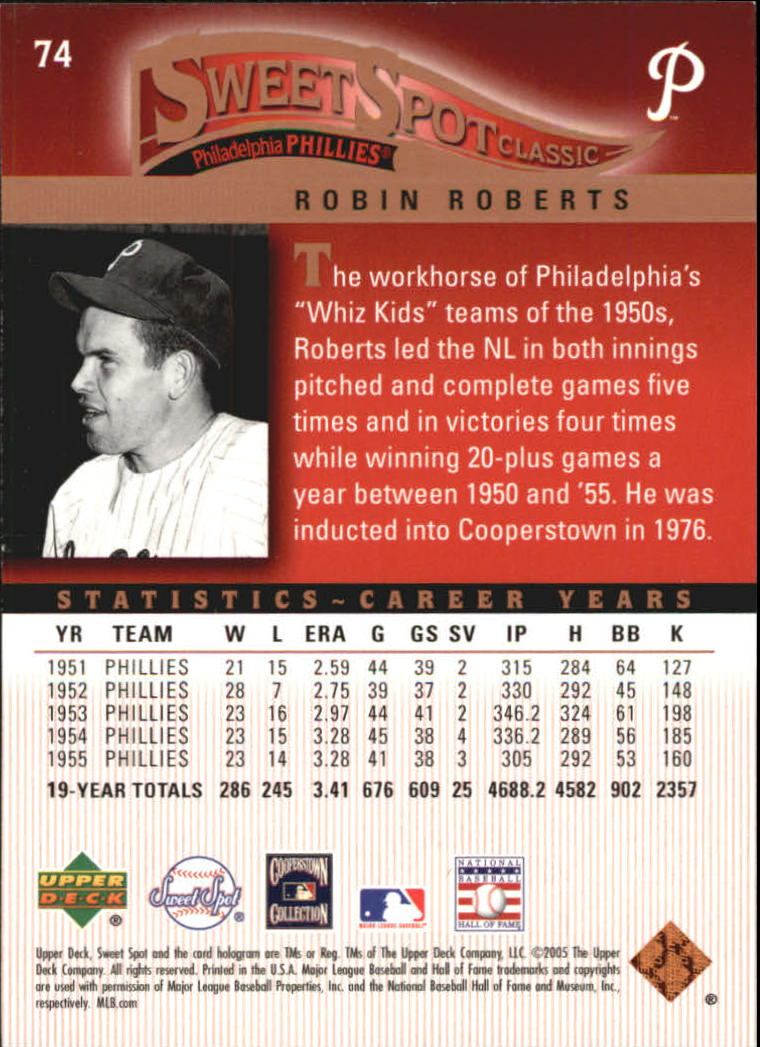 2005 Sweet Spot Classic #74 Robin Roberts back image