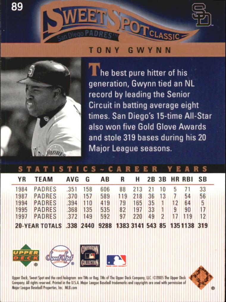 2005 Sweet Spot Classic #89 Tony Gwynn back image