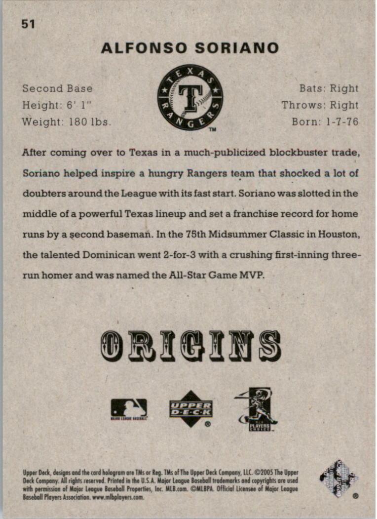 2005 Origins #51 Alfonso Soriano back image