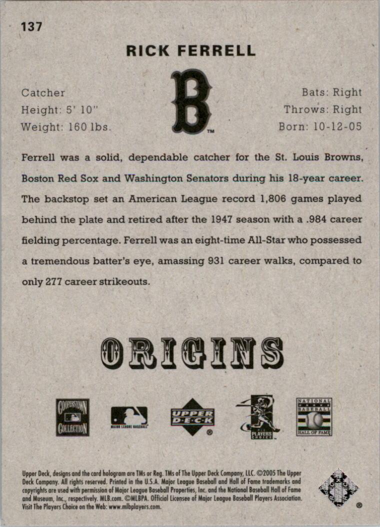 2005 Origins #137 Rick Ferrell RET back image