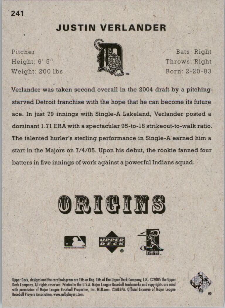 2005 Origins #241 Justin Verlander YS RC back image