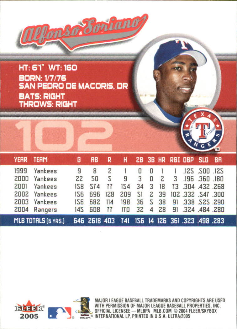 2005 Ultra #102 Alfonso Soriano back image