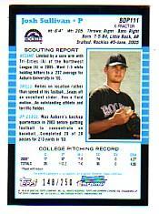 2005 Bowman Chrome Draft X-Fractors #111 Josh Sullivan FY back image